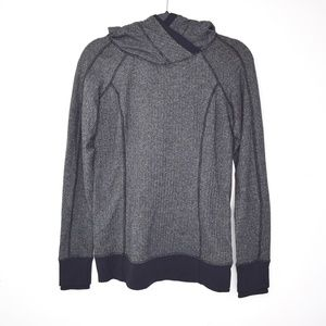Lululemon Think Fast Hoodie Herringbone Gray/Black